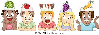 Illustration of a Diverse Group of Preschool Kids Wearing Paper Hats Shaped Like Different Fruits and Vegetables on Top of Blank Board