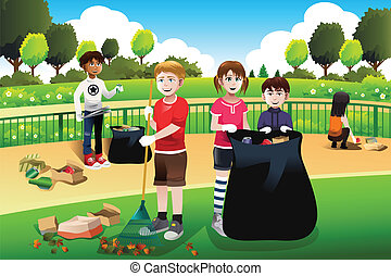 A vector illustration of kids volunteering cleaning up the park