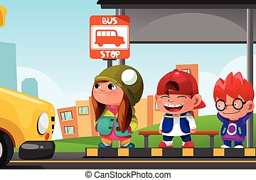 Kids Waiting at a Bus Stop