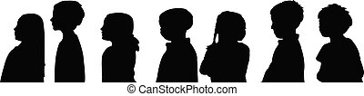 kids waiting, body part silhouette