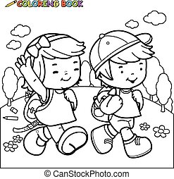 Kids walk to school. Vector black and white coloring page.