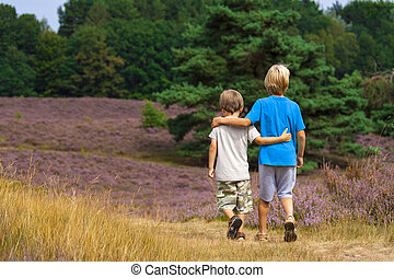 kids walking on moor land