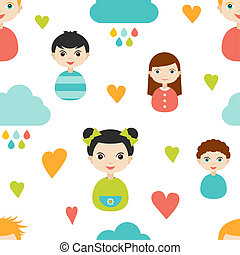 Kids wall paper pattern. Color children smiling faces with heart and clouds.