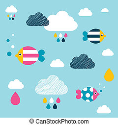 Kids wall paper pattern. Colored fishes and clouds.