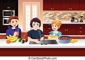 Kids Washing Fruits