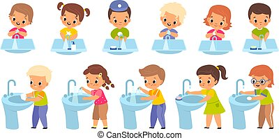 Kids washing hands. Girls and boys observe personal hygiene, disinfect arms with antibacterial soap bars and gels, children and sink front and side view, health care vector cartoon set