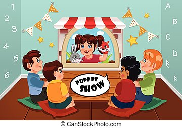 Kids Watching Puppet Show - A vector illustration of happy...