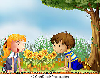 Kids watching the pots of sunflower - Illustration of kids...