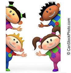 kids waving - cute little cartoon kids waving from behind...