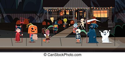 Kids Wearing Monsters Costumes Walking In Town Tricks Or Treat Happy Halloween Banner Holiday Concept