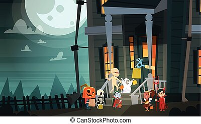 Kids Wearing Monsters Costumes Walking To House Get Candy Tricks Or Treat Happy Halloween Banner Holiday Concept