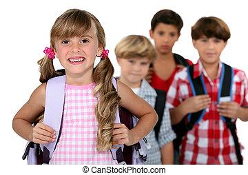 kids wearing their school bags