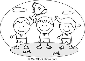 Boy winner coloring page. Black and white cartoon ...