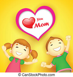 Kids wishing Love you Mom - illustration of kids wishing...