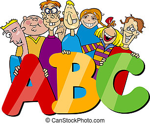 kids with abc letters cartoon - Cartoon Illustration of ...
