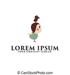 kids with bird on head logo design concept template