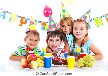 Kids with birthday cake