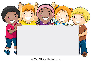 Kids with a Blank Board against White Background