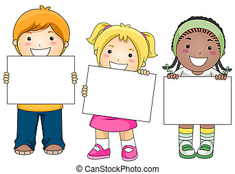 Kids with Blank Board - Kids with a Blank Board against...