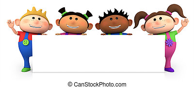 kids with blank sign - cute little cartoon kids behind blank...