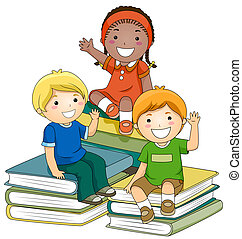 Kids with Books - A Small Group of Kids Sitting on Piles of...
