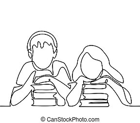 Kids with books. Back to school concept.