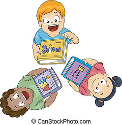 Kids with Books Looking Upwards - Illustration of Little ...