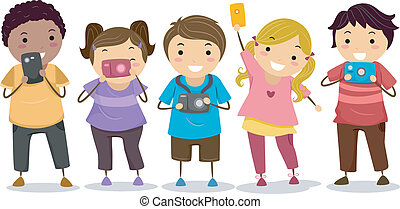 Kids with Cameras - Illustration of Stickman Kids holding...