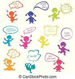 Kids with chat bubbles with positive messages