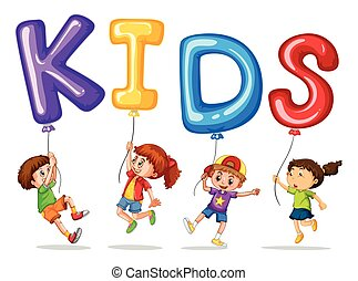 Kids with colorful balloons for word kids