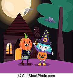kids with costume halloween image
