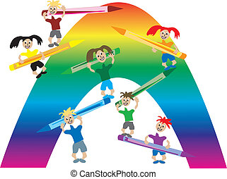 Boy Coloring With Crayons Cartoon Of A Vector