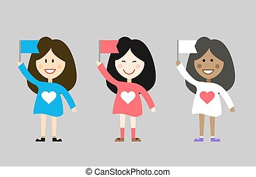 Kids with flags from different countries. Asian, caucasian, african. Black, yellow, white. Girls, young, sweety, flag and dress, spring, peace in the world. People cartoon characters.