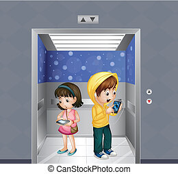 Kids with gadgets at the elevator - Illustration of the kids...