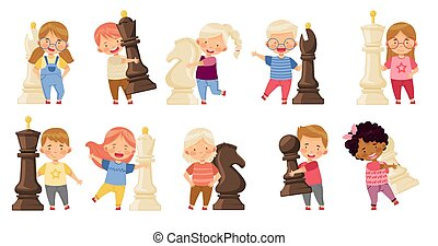 Kids with Giant Chess Piece or Chessman Vector Set