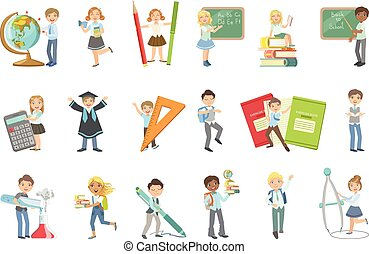 Kids With Giant School Attributes Set Of Simple Design...