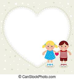 Kids with heart shape frame.