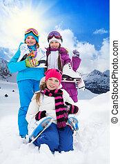 Kids with ice skates