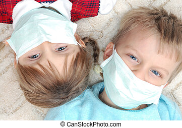 Educational Kids School Concept Masks With Joyful Three
