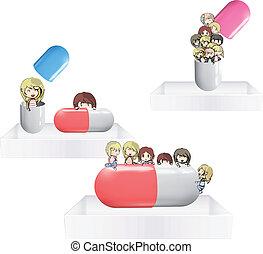 Kids with pill on white shelves. Vector design.
