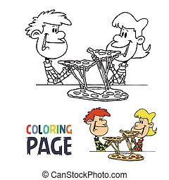 kids with pizza cartoon coloring page