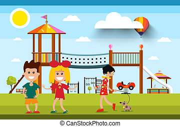 Kids with Playground and Woman with Dog on Background. Sunny Day in Park Vector Illustration.