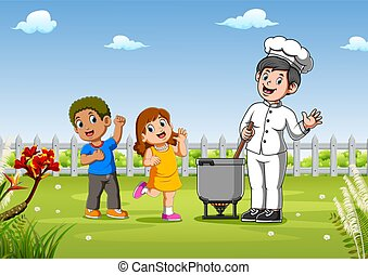 Kids with pretty chef cooking outdoors