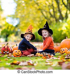 Kids with pumpkins in Halloween costumes - Children in black...