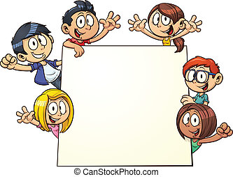 Cartoon kids holding a sign. Vector clip art illustration with simple gradients. All in a single layer.
