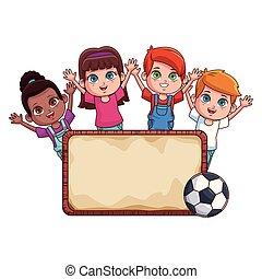 Kids with sign cartoons