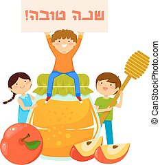 kids with symbols of Rosh Hashanah - kids with honey, apples...