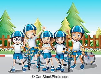Kids with their bike on the road