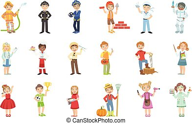 Kids With Their Future Professions Attributes Bright Color Cartoon Simple Style Flat Vector
