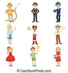 Kids With Their Future Professions Attributes